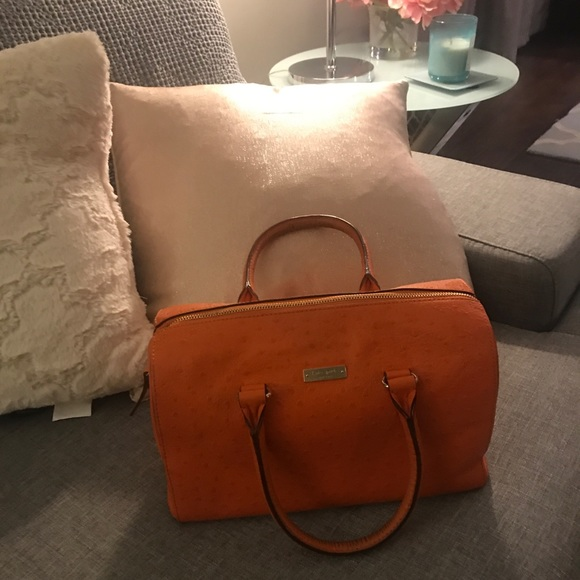 kate spade Handbags - Kate Spade Orange Ostrich with Gold trim